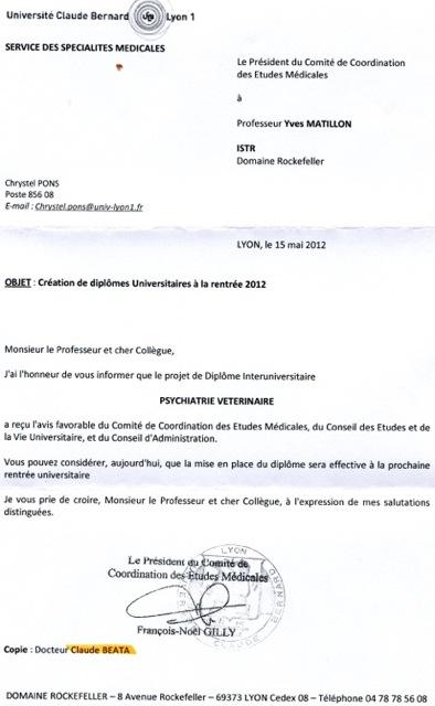 lettre de motivation pour un diplome universitaire DU de psychiatrie vétérinaire, historique. Master vétérinaire  lettre de motivation pour un diplome universitaire
